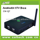 Coltech CM-Q7 new arrival external wifi 3D android 4.1 tv box dual core internet google android tv box