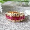 14k Yellow Gold Genuine Ruby Ring 00076005