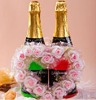 Wedding Decoration-Wedding Accessories-love heart pink flower decoration Champagne Glass wear