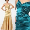New Arrival V-neck Sleeveless Satin Long Gold Bridesmaid Dresses