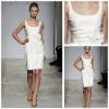 MB2013 Elegant Ruffle Sash Bowknot Sleeveless White Western Style Bridesmaid Dress