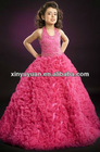 Red Halter Beaded A-line Prom Gown Party Dress For Little Girl PT-261