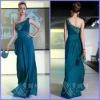 2012 Custom Made One-Shoulder Rhinestone Ruffle Sheath Satin Evening Dress