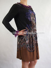 long sleeve silk cdc fashion dress printed