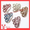 colorful rhinestone crown slider buckles