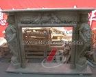 European style stone fireplace