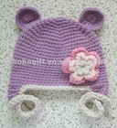New Girls Baby Handmade Knitted Flower Monkey Hat Purple