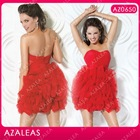 AZ0650 Handmade Flower Sweetheart Mini Red Sexy Girls Party Dress