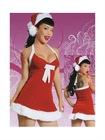 Red White Black Santa Nylon Cotton Sexy Christmas Costume