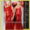 Hot Sale Long One Shoulder Plus Size Red Sequin Dress