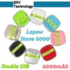 Smartphone external battery/ 6000mah power bank for iphone & ipad / portable source Lepow Stone 6000