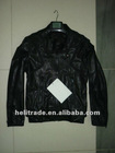 men's real leather jacket with punching / quilted