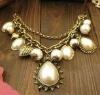 drop pearls necklace costume jewelry handmade faux pearls necklace silver necklace pendant