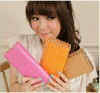 bright color metal edged pu women long wallet with rivets