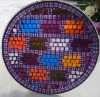 """10""""Handmade Mosaic glass plate in multi-color"""
