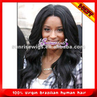 Top quality natural straight indian remy hair full lace wig for black women