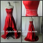 Red satin sweetheart beaded high low real photos evening dress