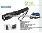 900 lumens led zoomable flashlight with xml t6 led+18650 battery+charger