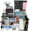 Professional Tattoo Kit Dual LCD Power 2 Machines Guns 2 Grips Inks Needles AND Body Piercing Kit
