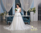 Hot Sale Fashion Cap Sleeves with Pearls Diamonds Beads Pleats Elegant Organza Long Tail Bridal Dress WD-B137