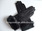 Leather gloves sheepskin glove with rabbit fur