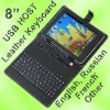 8 inch android tablet pc leather case keyboard stock