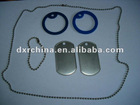 Military Dog Tag Set Supplie,1Set=2pcs 3.8cm Blue Silicon Rubber+2pcs Dog Tag+1pc S/S Long Chain+1pc Short Chain