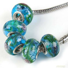 new blue lampwork glass with rhodium plated circle fashion bracelets&bangles making for charm beads fit european 151685