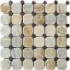 P014 Oyster Round Slate Stone Mosaic Tile Patterns