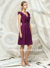 Unique Design Style V-Neck Sleeveless Knee Length Ruffle Dress For Bridesmaid 2012 BD-C198