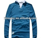 New design cotton men's long sleeve T-shirt with V-neck