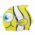 Fish shaped 100% silicone swimming cap