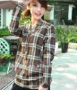 Fashion Checks Design All-match Blouse Coffee MZ12052804