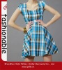 2013 ladies latest fashion slim blue plaid dress
