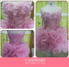 Turnup Hem Flowers Sexy Cocktail Dress Complex Organza Light Pink Mini Sweetheart Ball Dress Party Gown