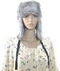 YR-383 natural gray color genuine rabbit fur hat