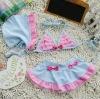 Girls cute 3pcs bikini swimsuits swimwear blue bow beach clothing bikini