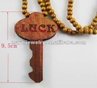 wood hip hop luck key assorted color 8mm beads necklace chain
