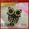 Wholesale fashion black cute owl ring 2012