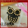 Wholesale fashion black cute owl ring 2012