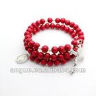 red wood bead rosary bracelets