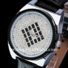 ARINNA charming New Ladies clear black leather Belt Watch 18K Crystal W0004