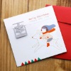 christmas greeting card with bookmark