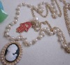 fashion goddes pendant with pearl chain neckalce