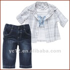 New style short sleeve cotton baby 3 pcs clothing sets for summer