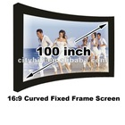16:9 HD 100 inch Curved Fixed frame projector/ projection screen matt white 3D cinema