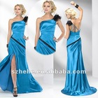 Wholesale price sheath open side one shoulder prom dresses