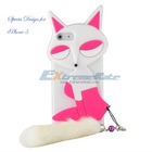 For iPhone 5 Fox Series Silicone Cute Case With Plush Pendant