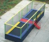 Large rectangular trampoline with enclosure for both outdoor and indoor