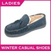 Popular loafers sheepskin and cow leather women casual shoes